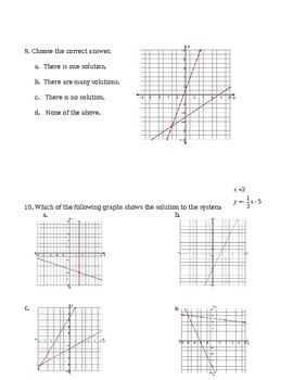 Unit 3 Post-Test - Systems of Equations (Elimination, Substitution, & Graphing)