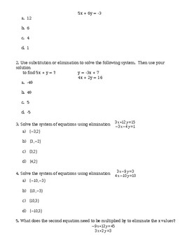 Unit 3 Pre-Test - Systems of Equations (Elimination, Substitution, & Graphing)