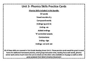 Unit 3 (Reading Street) Phonics Practice Word Cards