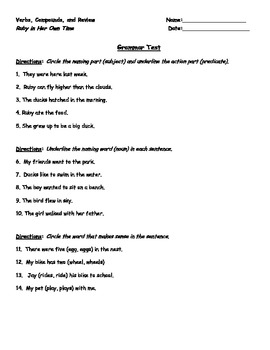 1st Grade Unit 3 Reading Street Spiral Grammar Tests