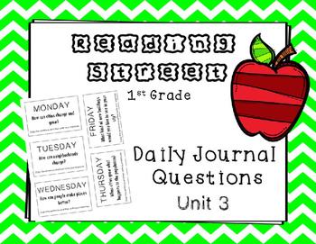 Unit 3 Reading Street Weekly Journal Ideas. 1st Grade.
