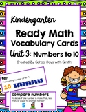 Unit 3 Ready Math Vocabulary Cards for Kindergarten