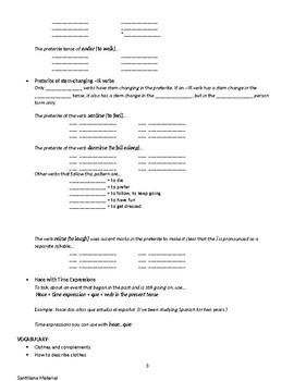 Unit 3 Santillana Study Guide Spanish 2