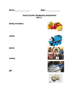 Unit 3- Social Studies Families KINDERGARTEN VOCABULARY ASSESSMENT