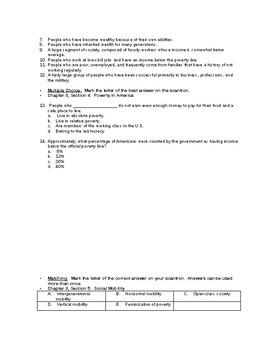 Unit 3 Sociology Test:  Social Inequalities, Social Class, Race, & Gender