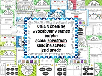 Unit 3 Spelling and Vocabulary Games Scott Foresman Second Grade Reading Street