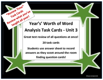 Unit 3 Task Cards - Year's Worth - Reading Review