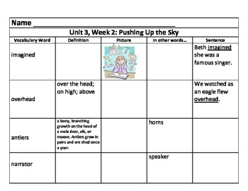 Unit 3 Vocabulary Charts for 3rd Grade Reading Street Comm