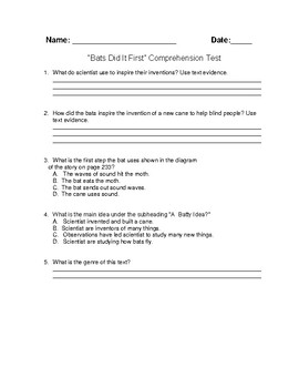 "Unit 3 Week 4 ""Bats Did It First"" Comprehension Test"