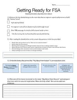 Unit 3 Week 4 - Big Ideas from Nature, FSA Quiz, Reading Wonders, 3rd Grade