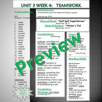 Unit 3 Week 4 Skills Guide Fifth Gr based on McGraw Hill Wonders Winter's Tail
