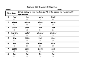 Unit 3 Weekly Spelling Tests for Journeys Grade 1