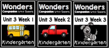 Unit 3 Weeks 1-3 Wonders Worksheets Kindergarten Centers