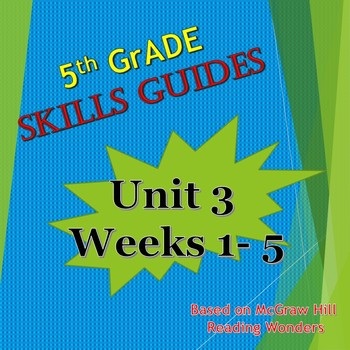 Unit 3 Weeks 1-5 Skills Guides Fifth Gr based on McGraw Hill Wonders