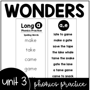 Unit 3 Wonders Phonics Practice Booklet