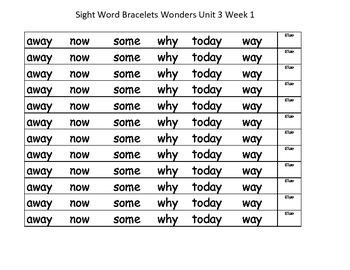 Unit 3 Wonders Sight word bracelets