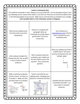 Unit 3 of HMH Journeys 5th grade Homework grid