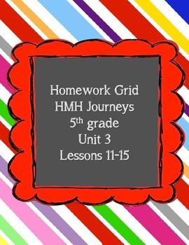 Unit 3 of HMH Journeys 5th grade Homework grid