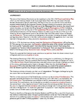 Unit 4.1 - Statehood (Part 1) - Revolutionary Georgia (SS8H3)