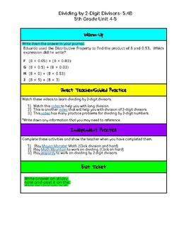 Unit 4-5 Dividing by 2-Digit Divisors- 5th Grade Hyperdoc