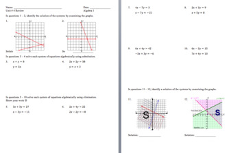 Unit 4 Assessment and Review (Systems of Linear Equations and Inequalities)