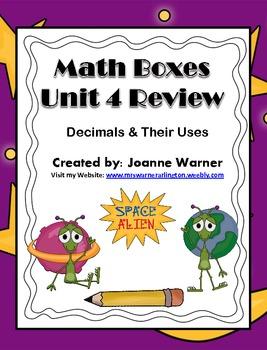 Unit 4 Decimals Math Boxes Review 4th Grade