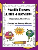 Unit 4 Decimals Math Boxes Review 4th Grade