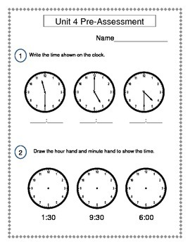 2nd Grade Everyday Math (EDM4) Unit 4 Pre-Assessment