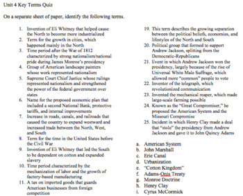 Unit 4 (Era of Good Feelings/Return of Sectionalism) Key Terms with Quiz and Key