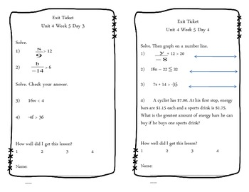 Unit 4 Exit Tickets (Data and Statistics, Probability and Algebra)