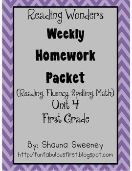 Unit 4 First Grade Homework Packet- McGraw Hill's Reading Wonders