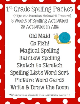 Unit 4 First Grade Spelling Activities {Aligns with McGraw-Hill Treasures}