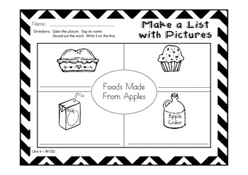 Unit 4 Graphic Organizers and More to Follow Treasures {Food}