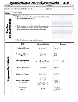 Unit 4 Guided Notes - Polynomial Functions ALG 2