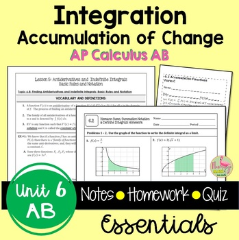 Calculus: Integration Guided Notes & Homework Bundle