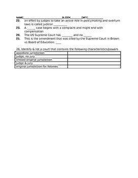 Unit 4 - Judicial Branch - Fill-In Study Guide