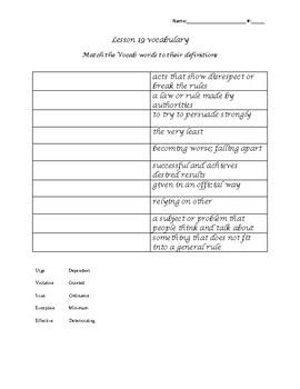 Unit 4 Lesson 19 vocabulary