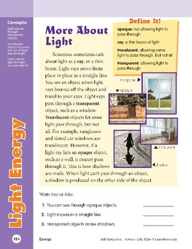 Unit 4: Light Energy: Concepts (Skill Sharpeners: Science)