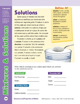 Unit 4: Mixtures and Solutions: Concepts (Skill Sharpeners:Science)
