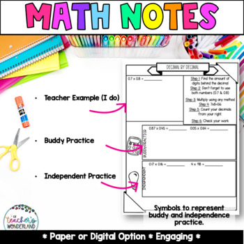 Unit 4- Multiplying Decimals Guided Math Notes for Math Notebooks