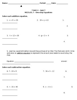 Unit 4 - One Step Equations Addition/Subtraction Quiz - Modified