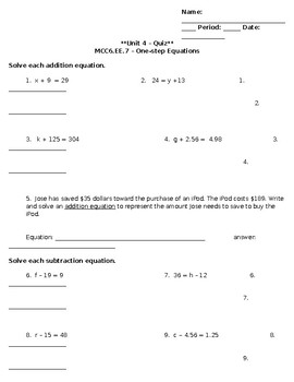 Unit 4 - One Step Equations Addition/Subtraction Quiz - Regular