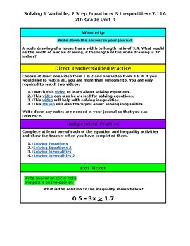 Unit 4- One Variable Equations & Inequalities- 7th Grade Hyperdoc