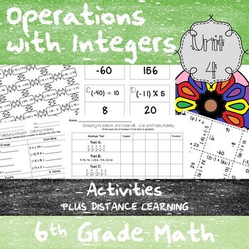 Unit 4 - Operations with Integers - Activities - 6th GradeMathTEKS