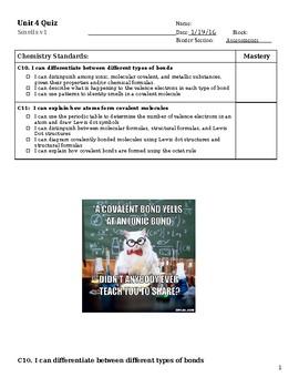 Quiz Unit 4 - Covalent Bonding
