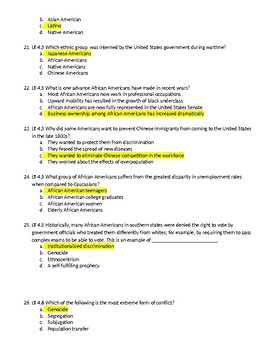 Unit 4 - Race and Ethnicity Test with Answer Key