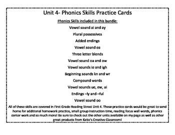 Unit 4 (Reading Street) Phonics Practice Word Cards