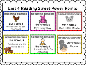 Unit 4 Reading Street Power Points Kinderagarten