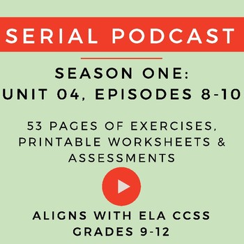 Unit 4: Serial Podcast Lesson Plans & Printable Worksheets, S.1, Episodes 8-10