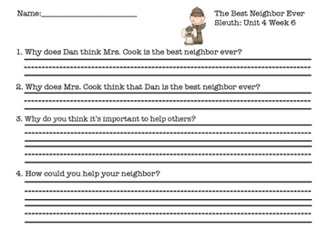 Unit 4 Sleuth Comprehension Worksheets 2013 Reading Street Supplemental Material